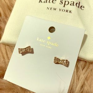 """Kate Spade """"Ready Set Bow"""" Rose Gold Bow Earrings"""